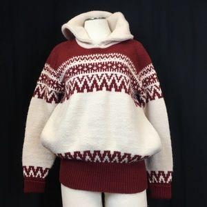 Vintage 1970's JCPenney Hooded Ski Sweater Medium